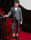 ヘリンボーン織り1ボタンジャケットクロップドパンツスーツ(グレー)
